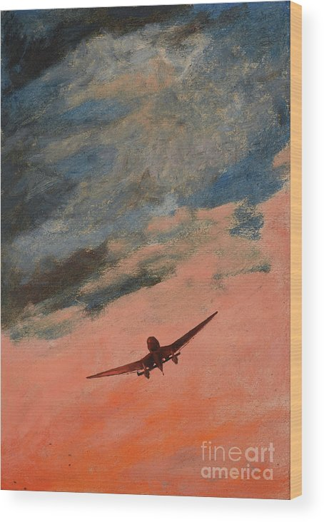 Luftwaffe Wood Print featuring the painting Howl by Oleg Konin