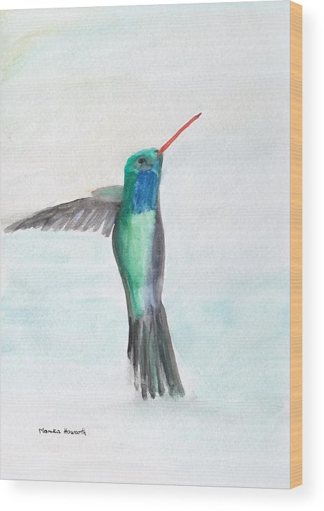 Hummingbird Wood Print featuring the painting Hummingbird Painting by Monika Howarth