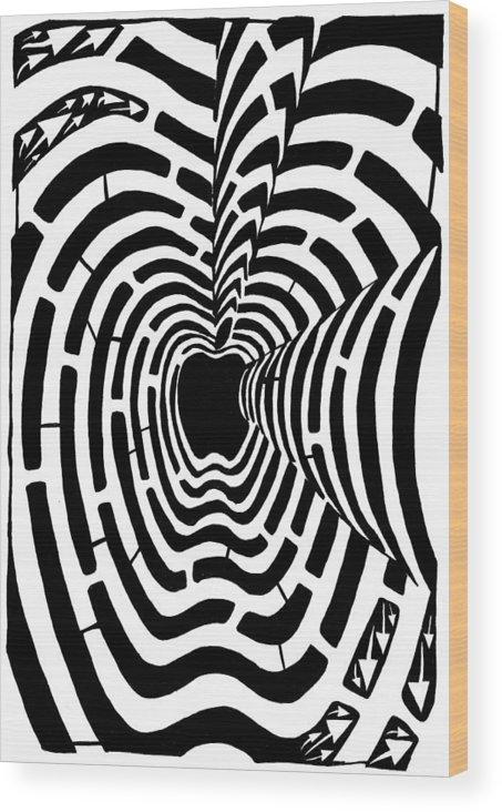 Imaze Wood Print featuring the drawing iMaze Apple Ad Maze Idea by Yonatan Frimer Maze Artist