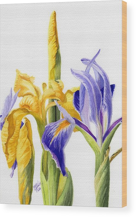 Yellow Wood Print featuring the painting Iris And Flag by Linda Hoover