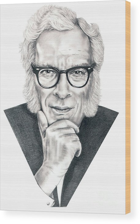 Portrait Wood Print featuring the drawing Isaac Asimov by Murphy Elliott