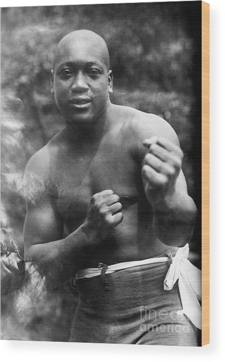 1910s Wood Print featuring the photograph Jack Johnson (1878-1946) by Granger