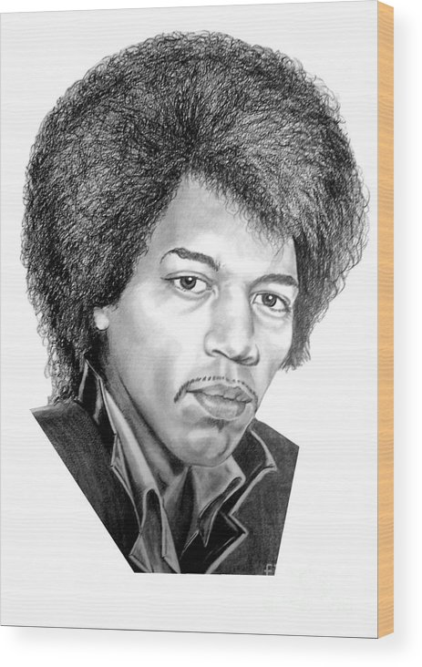 Jimmi Hendrix Wood Print featuring the drawing Jimmi Hendrix By Murphy Art. Elliott by Murphy Elliott