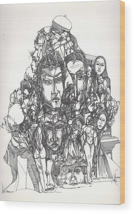 Joined Wood Print featuring the drawing Joined Up Into One by Padamvir Singh
