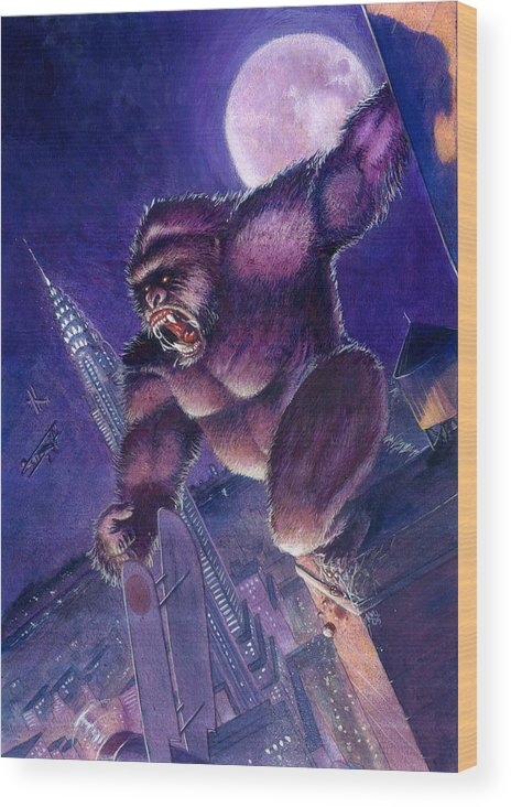King Kong Wood Print featuring the painting Kong by Ken Meyer