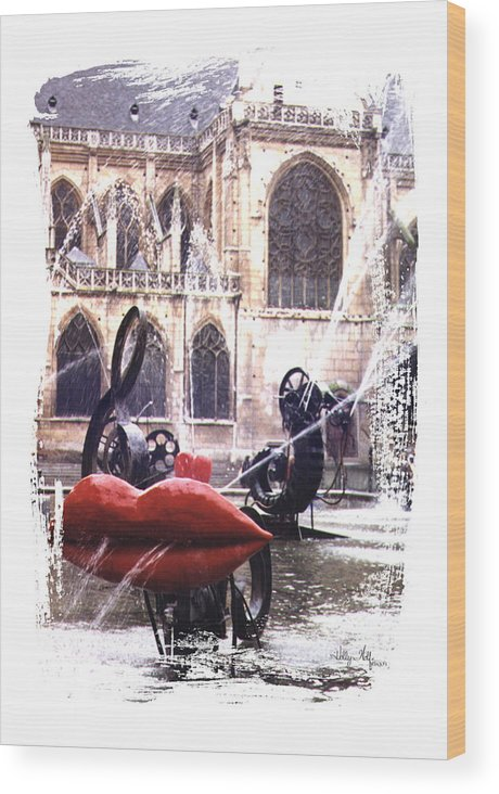 Lips Wood Print featuring the photograph La Fontaine Stravinski by Holly Wolfe