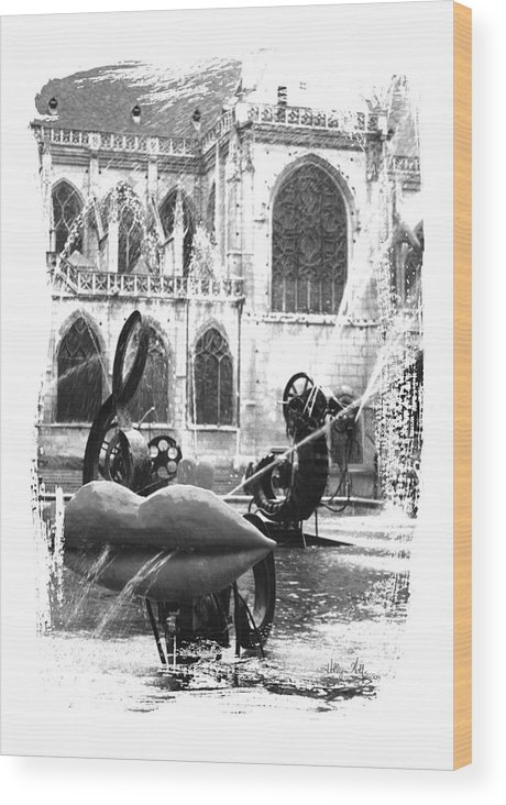 Lips Wood Print featuring the photograph La Fontaine Stravinski In Black And White by Holly Wolfe