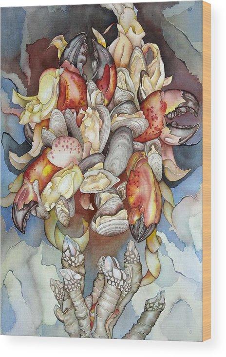 Sealife Wood Print featuring the painting La Mer En Rouge by Liduine Bekman