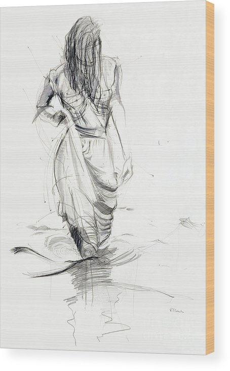 Woman Wood Print featuring the drawing Lady In The Waters by Kerryn Madsen-Pietsch