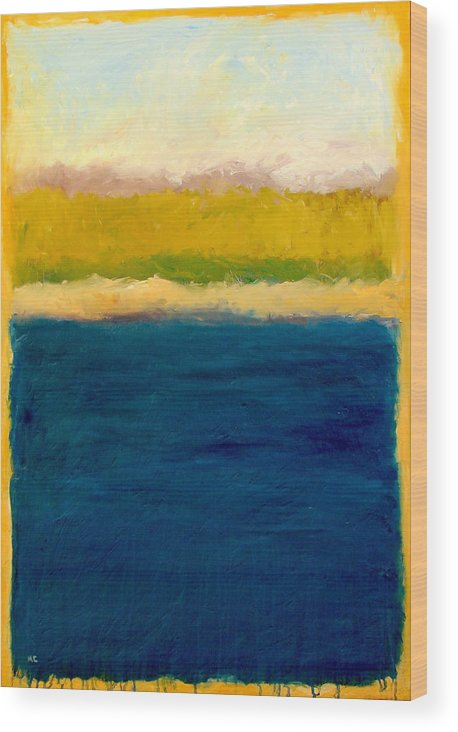 Dunes Wood Print featuring the painting Lake Michigan Beach Abstracted by Michelle Calkins