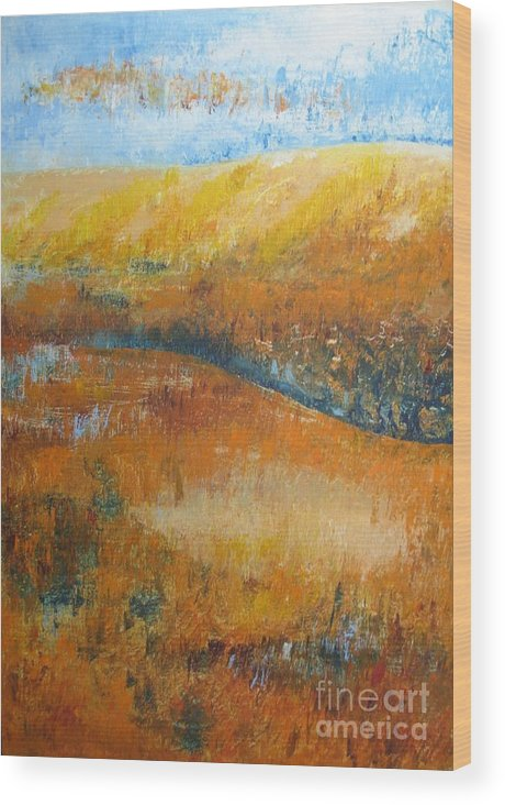 Landscape Wood Print featuring the painting Land Of Richness by Stella Velka