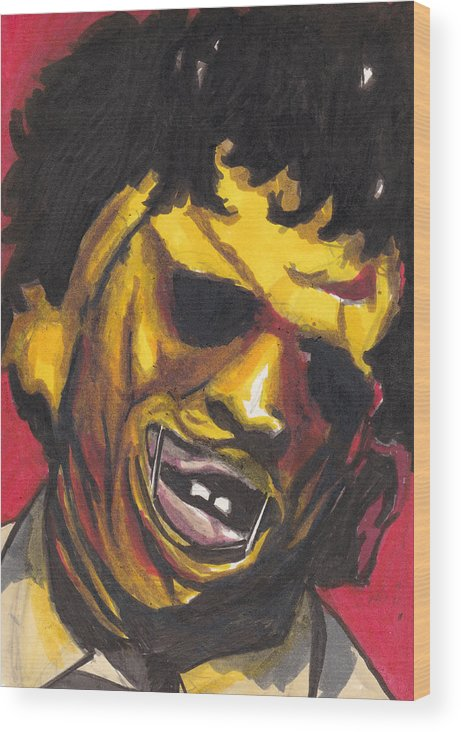 Leatherface Wood Print featuring the drawing Leatherface by Jim Valentine