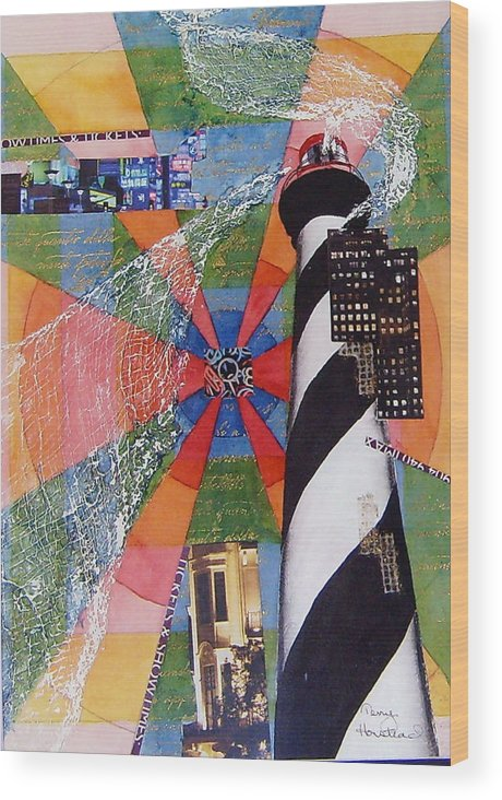 Watercolor Wood Print featuring the painting Lighthouse by Terry Honstead