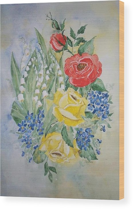 Roses Flowers Wood Print featuring the painting Lilly Of The Valley In Good Company by Irenemaria Amoroso