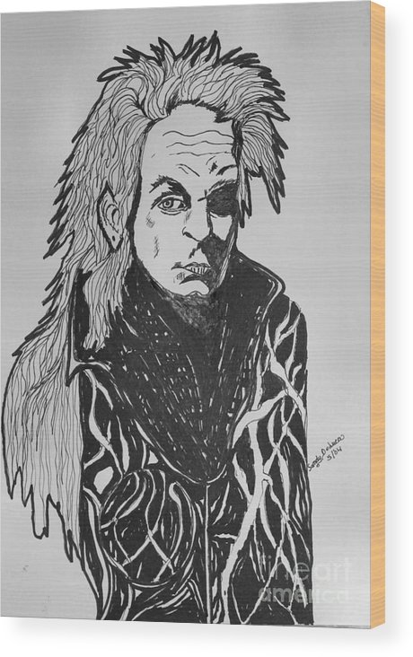 Vampire Wood Print featuring the drawing Lord Vampire by Sandy DeLuca