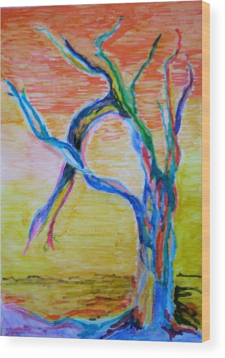 Abstract Painting Wood Print featuring the painting Magical Tree by Suzanne Udell Levinger