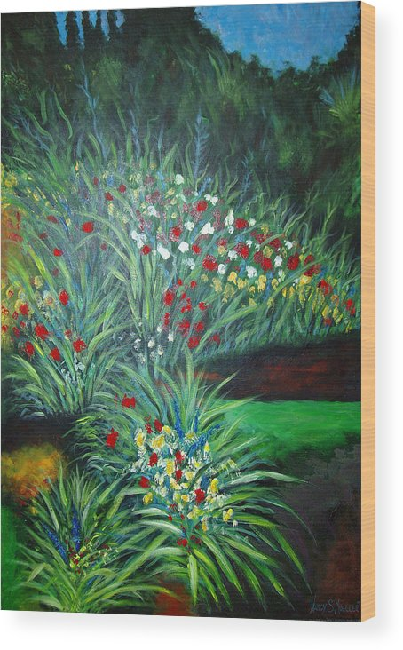 Landscape Wood Print featuring the painting Maryann's Garden 3 by Nancy Mueller