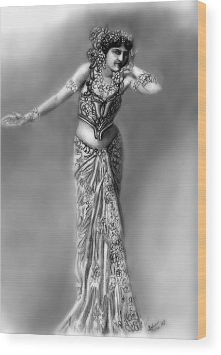 Spy Wood Print featuring the drawing Mata Hari by Carliss Mora