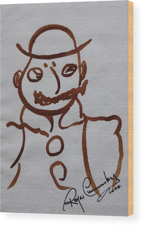 James Joyce Ulysses Wood Print featuring the painting Mr Leopold Bloom by Roger Cummiskey