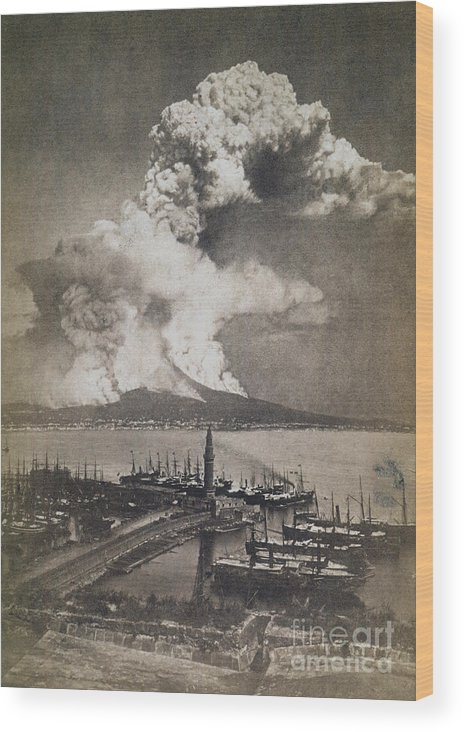 1872 Wood Print featuring the photograph Mt. Vesuvius Erupting by Granger