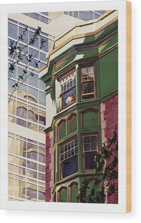 Apartment Window World Flat Building Modern Deco Shade Sun Light Contrast Old New Wood Print featuring the painting My Corner Of The World by Mike Hill