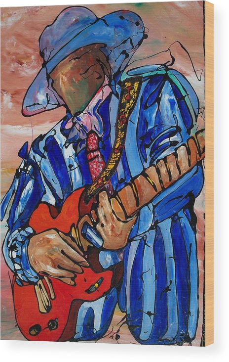Music Wood Print featuring the painting Nameless The Wailer by Ernie Scott- Dust Rising Studios