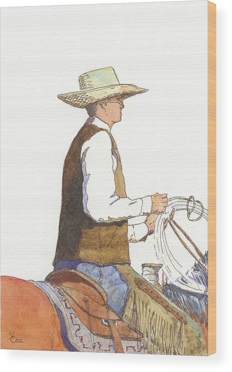 83dc1d3be3042 Horse Wood Print featuring the painting Nevada Buckaroo by Valerie Coe