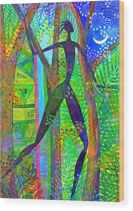 Jungle Tropical Night African Figure Mysterious Wood Print featuring the painting Night Quest by Jennifer Baird