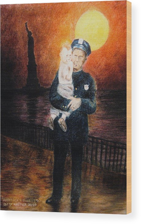 Police Wood Print featuring the pastel Officer Daddy by Larry Whitler