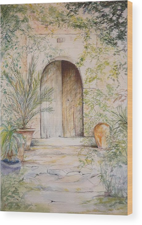 Door Wood Print featuring the painting Old Wooden Door by Lizzy Forrester