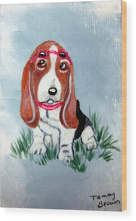 Basset Hound Wood Print featuring the painting One Cool Basset Hound by Tammy Brown