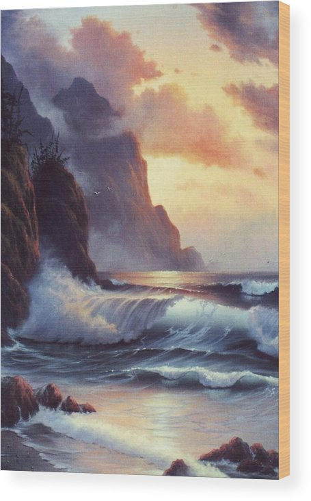 Sunset Of Oregon Coast  Seascape Wood Print featuring the painting Oregon Sunset by Lynne Parker