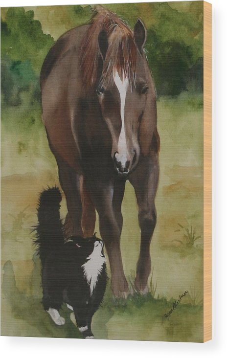 Horse Wood Print featuring the painting Oscar And Friend by Jean Blackmer