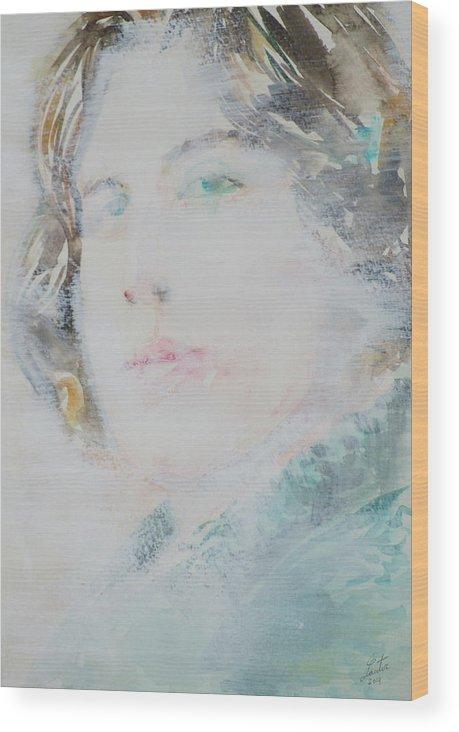 Oscar Wood Print featuring the painting Oscar Wilde - Watercolor Portrait.7 by Fabrizio Cassetta