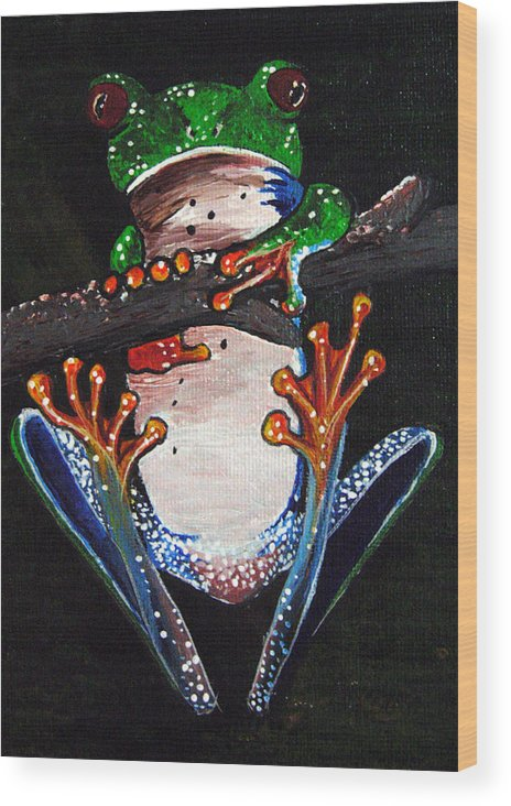 Tree Frog Wood Print featuring the painting Out On A Limb by Sharon Supplee