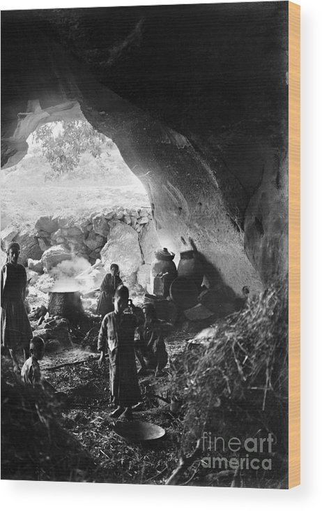 1910s Wood Print featuring the photograph Palestine: Cave Dwelling by Granger