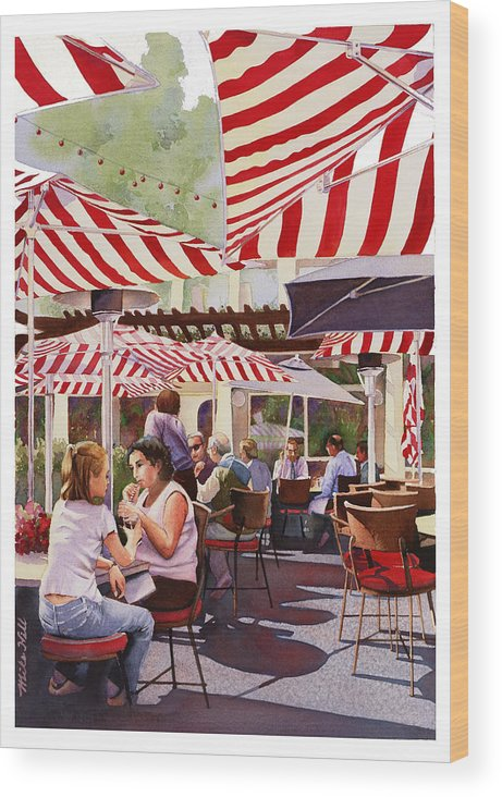 Restaurant Cafe Red White Stripes Umbrellas Shadows Eat Drink San Diego Warm Peppermint Candy Stripe Wood Print featuring the painting Peppermint Moment by Mike Hill