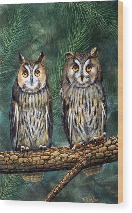 Wildlife Wood Print featuring the painting Perfect Strangers by Frank Wilson