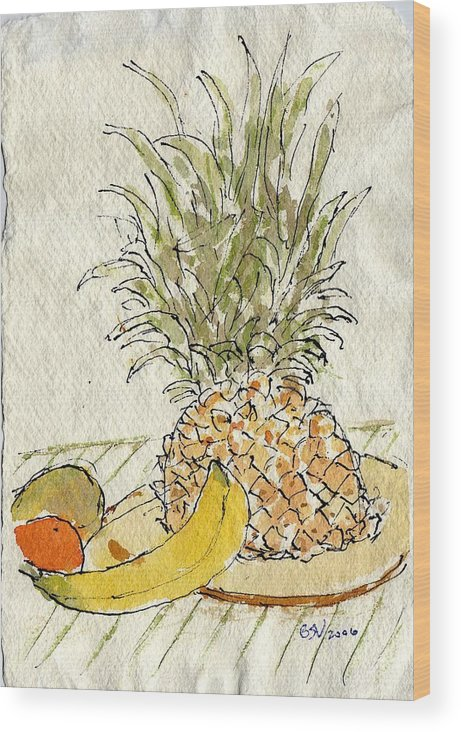 Fruit Wood Print featuring the painting Pineapple And Banana by Bernard Victor