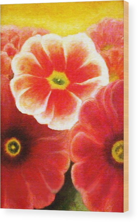 Flower Wood Print featuring the painting Pink Flowers by Flavia Lundgren