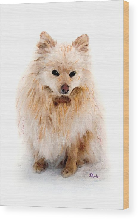 Pomeranian Wood Print featuring the pastel Pip by Brent Ander