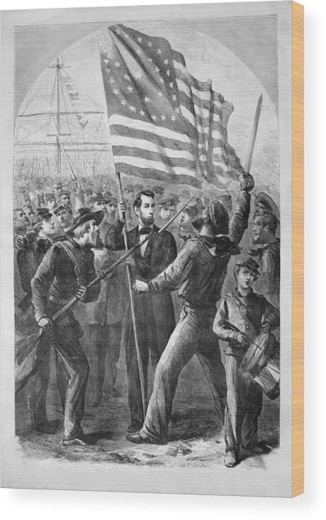 Abraham Lincoln Wood Print featuring the painting President Lincoln Holding The American Flag by War Is Hell Store