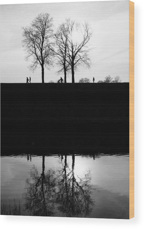 Black & White Wood Print featuring the photograph Quiet Day by Jai Cobino