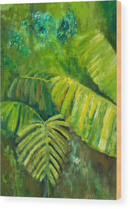 Rain Forest Wood Print featuring the painting Rain Forest by Carol P Kingsley