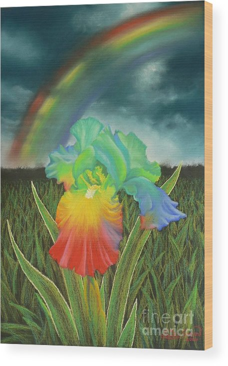 Rainbow Iris Flower Spring Bloom Garden Wood Print featuring the pastel Rainbow Iris by Louise Green