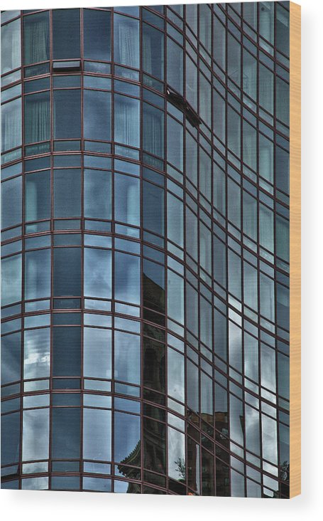 Reflective Buildings Wood Print featuring the photograph Reflective High Rise Building by Robert Ullmann