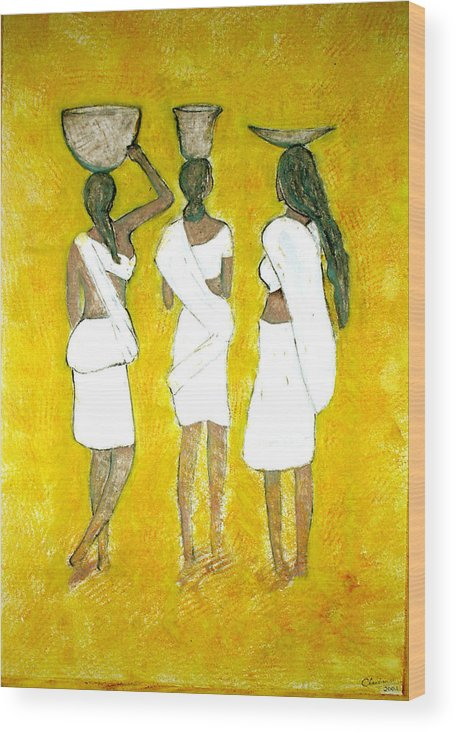 Women Wood Print featuring the painting Return From Market by Narayanan Ramachandran