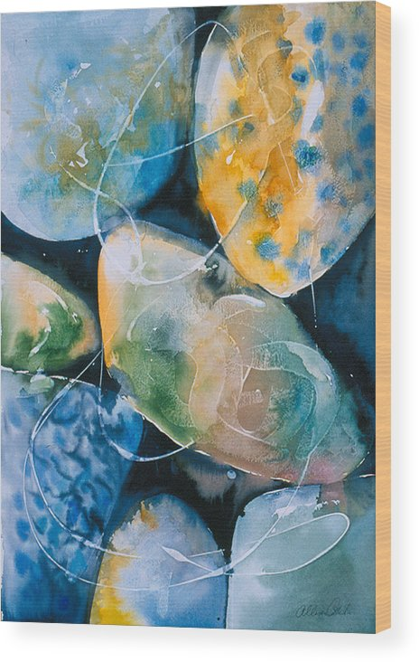 Water Wood Print featuring the painting Rock In Water by Allison Ashton