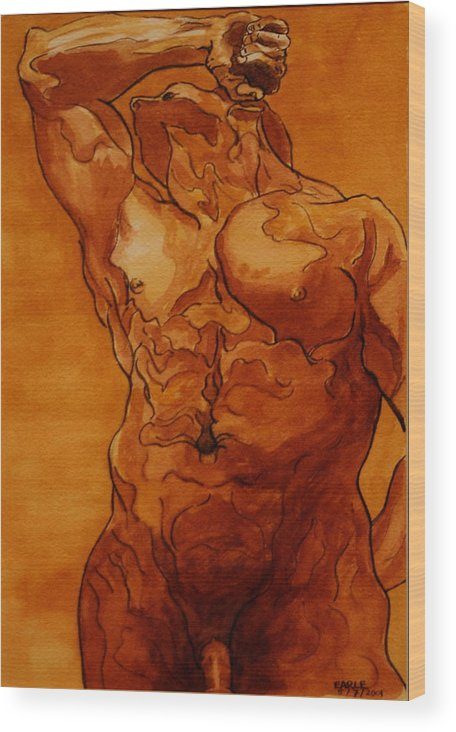 Male Nude Wood Print featuring the painting Rome Series Vi by Dan Earle