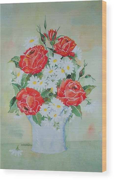 Roses Flowers Wood Print featuring the painting Roses And Daises by Irenemaria